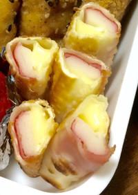 お弁当に〜餃子の皮で巻くカニカマチーズ