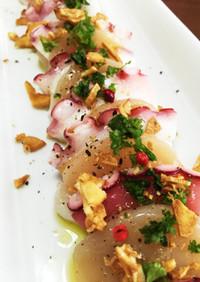 ホタテとタコのスタミナカルパッチョ