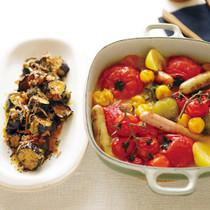 いろいろトマトの蒸し焼き(写真右)