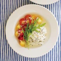 トマトとシラスの冷たい麺