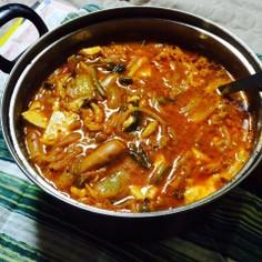 韓国の男子飯 ブテチゲ(部隊鍋)