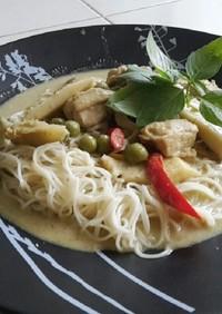 本格タイ料理グリーンカレーでそうめんを