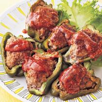 ピーマンの肉詰めガリバタ焼き