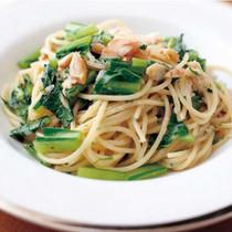 あじの干物と青菜のスパゲッティーニ