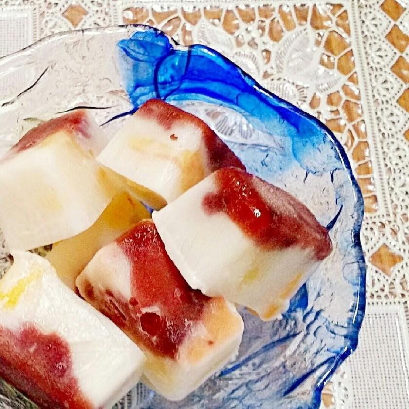 材料3つ♡簡単♡製氷器で白くま風アイス