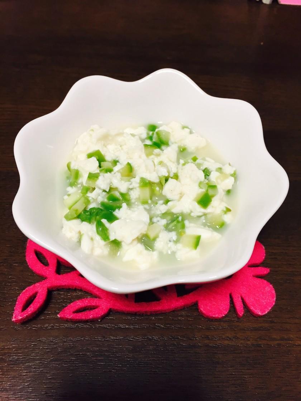 離乳食中期。3分でアスパラと豆腐のだし煮