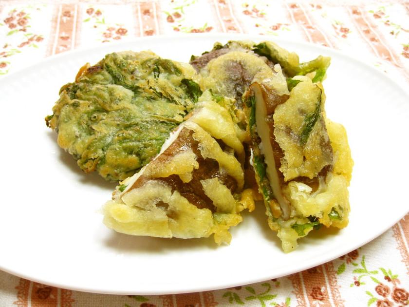 椎茸と大葉の納豆天ぷら