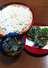 味噌味のしそ天ぷらと食べるつけそうめん