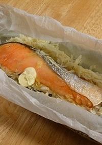 塩鮭とキャベツの簡単レンジ蒸し