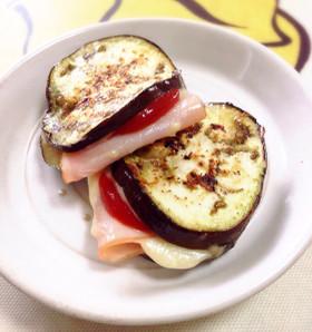 茄子のハムチーズはさみ焼き♪お弁当に♪