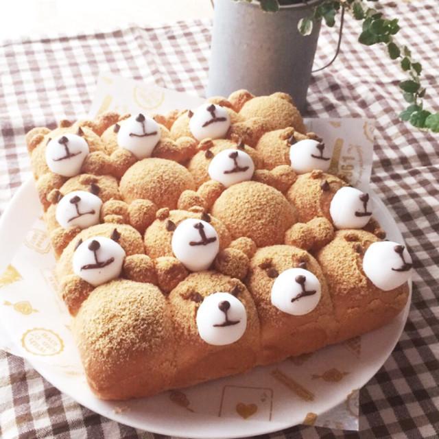 ミルクきな粉ちぎりパン♡テッド風