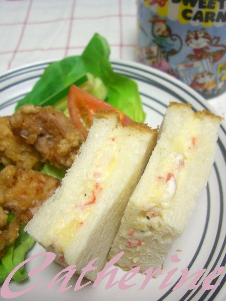 カニカマ&ポテトのサンドイッチ