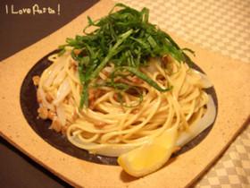 イカ納豆と青じその冷たいスパゲッティー