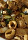 ネギとハツモトのピリ辛中華炒め