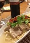 ソーキそば風 スープパスタ(手打ち麺)