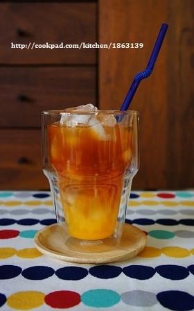 おうちcafe♪二層アイスオレンジティー