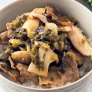 豚バラの高菜炒め丼