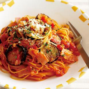 なすの即席トマトスパゲッティ