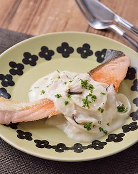 5分で!秋鮭の豆乳チーズソース