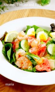 海老・トマト・ゆで卵のデリ風サラダの写真
