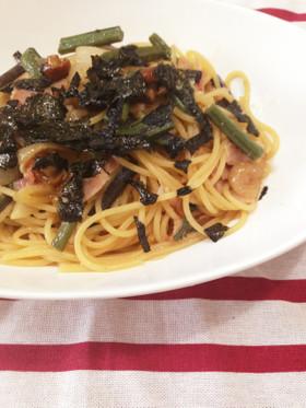 ピリッと大人の味  山菜パスタ