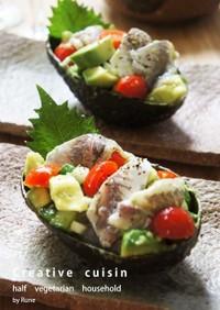 掲載レシピ♪アボガドと鯵のサッパリサラダ