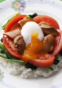 ガーリックチキンと野菜のロコモコ丼