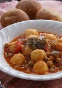 ガルバンゾーとポテト団子のスープ