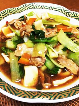 青梗菜、イカ、豚で中華風うま煮。うまうま