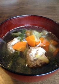 ◎風邪の時に◎鶏団子と野菜のお汁