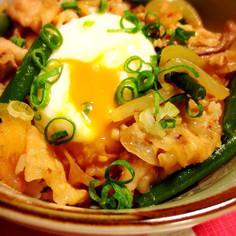 豚肉の味噌炒め丼♡