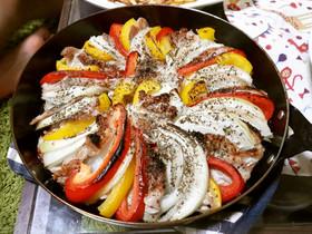 豚こまと野菜のグリルパン焼き