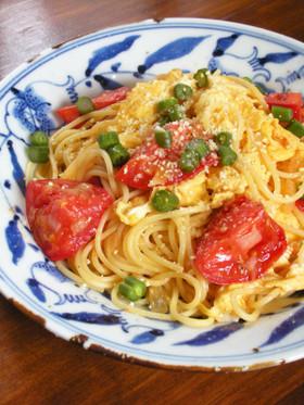 ニセコ産の塩トマトと卵のペペロンチーノ