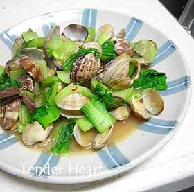 アサリと青梗菜の炒め物