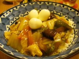 残り野菜で~中華うま煮丼♪