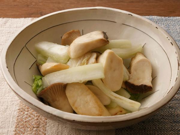エリンギと白菜の蒸し煮