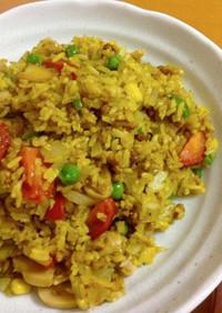 【昼食】大豆ミンチでもりもり野菜ピラフ