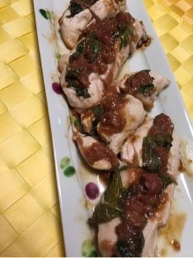 鶏ささみの梅肉はさみ焼