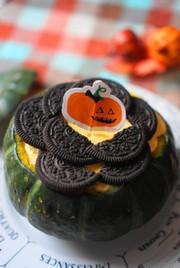ハロウィン☆丸ごと南瓜のレアチーズケーキの写真