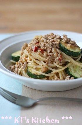 ズッキーニと肉味噌のピリ辛スパゲティ