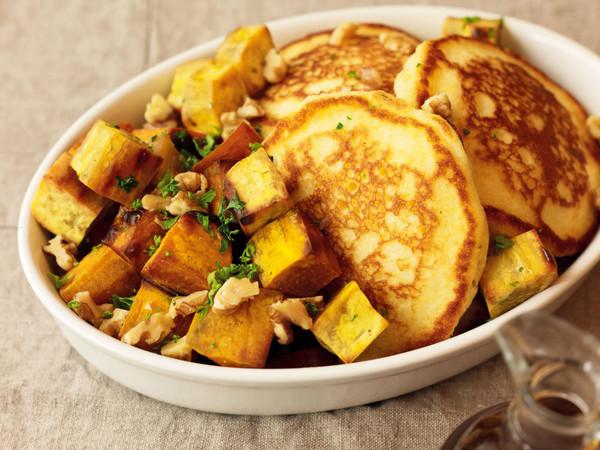 バターミルクコーンパンケーキ&ロースト野菜