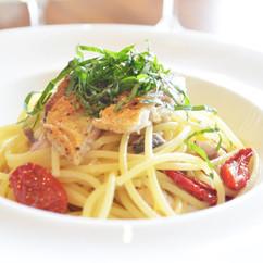スパゲティー 鯵とセミドライトマト