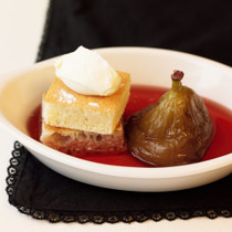 ホットケーキ&ポーチドフルーツ
