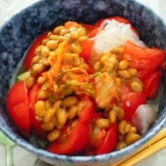 ダイエット最適☆キムチ納豆トマト白滝麺