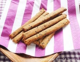 黒糖と黒ゴマのスティック米粉クッキー