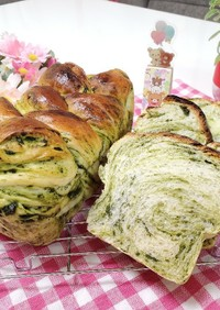 ほろ苦抹茶の折り込みパン