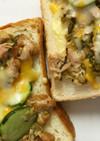 三池ごま高菜とツナの簡単トースト(朝食)