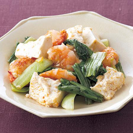 豆腐とえびのピリ辛炒め