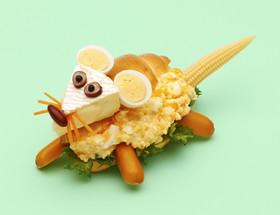 HBでネズミのバターロール・サンドイッチ