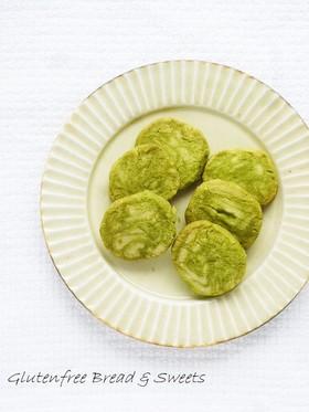 抹茶のマーブル米粉クッキー